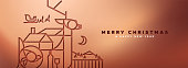 Merry Christmas Happy New Year luxury banner of papercut outline style illustration. Copper art deco design with reindeer on metallic background.