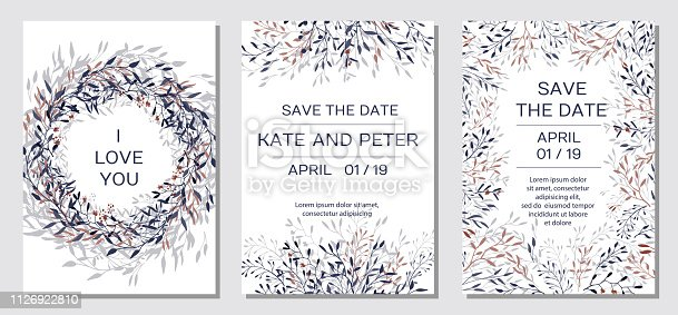 Wedding Invitation. Copper elegant floral invite set, modern card in copper leaf greenery branches decorative on navy blue background. Vector elegant rustic template - Vector