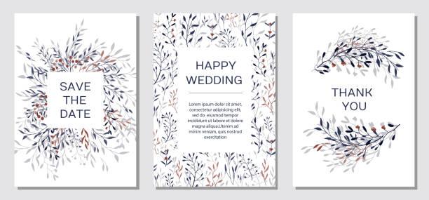 kupfer eleganten floralen einladung setzen moderne karte - gartenfolie stock-grafiken, -clipart, -cartoons und -symbole