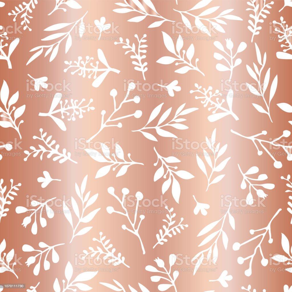 Copper foil leaves elegant seamless vector background. Simple abstract white leaf on metallic rose gold foil texture, endless foliage pattern. Paper, web banner, cards, wedding, celebration, invite vector art illustration