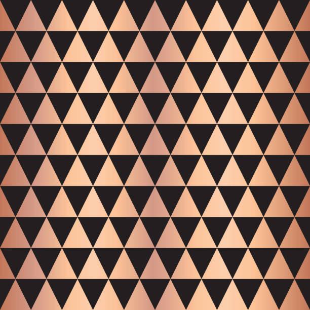 Copper foil triangle geometric seamless pattern vector art illustration