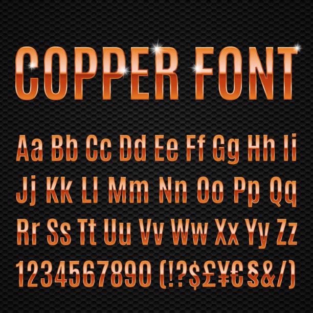 copper schriftart - kupfer stock-grafiken, -clipart, -cartoons und -symbole