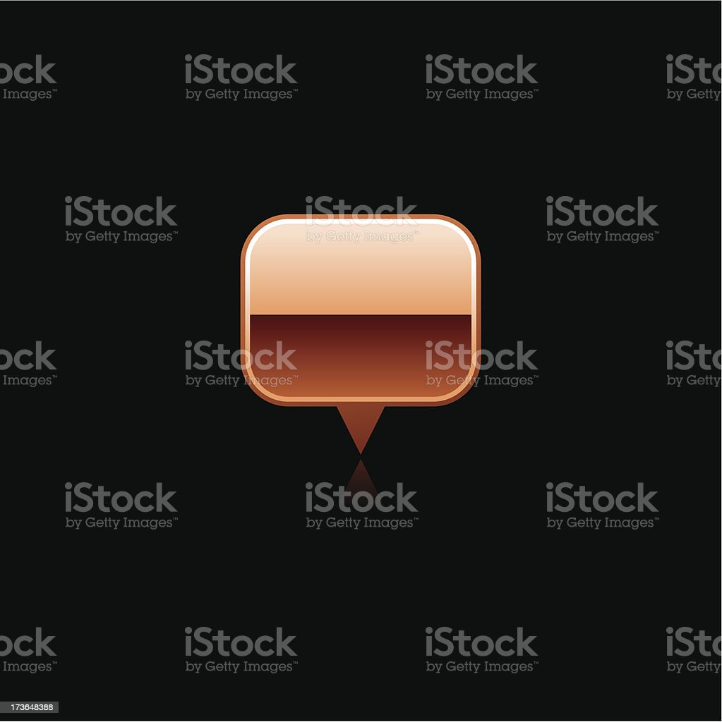 Copper map pin sign metal icon rectangle pictogram internet button royalty-free stock vector art