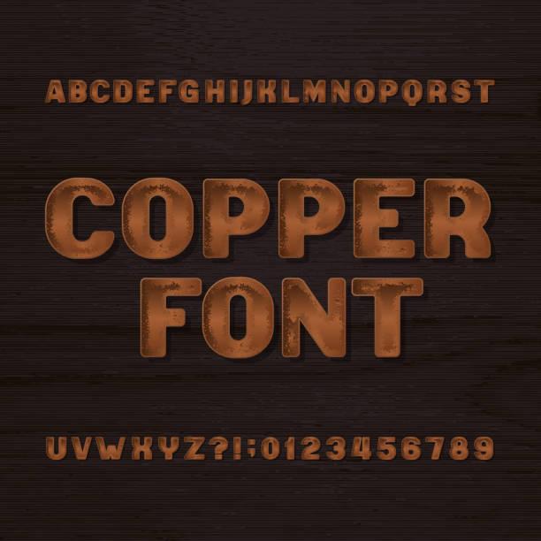kupfer-metall-schrift. retro-alphabet schriftart. metall buchstaben und zahlen. - kupfer stock-grafiken, -clipart, -cartoons und -symbole