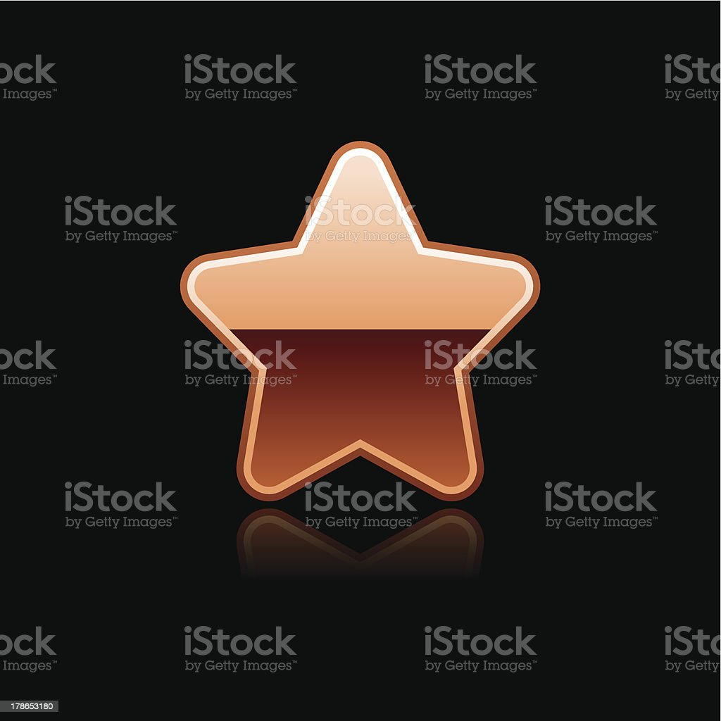 Copper star sign glossy icon chrome pictogram web internet button royalty-free stock vector art