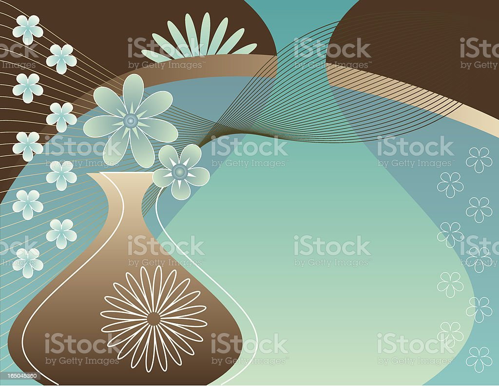 Copper Turquoise Floral Background vector art illustration