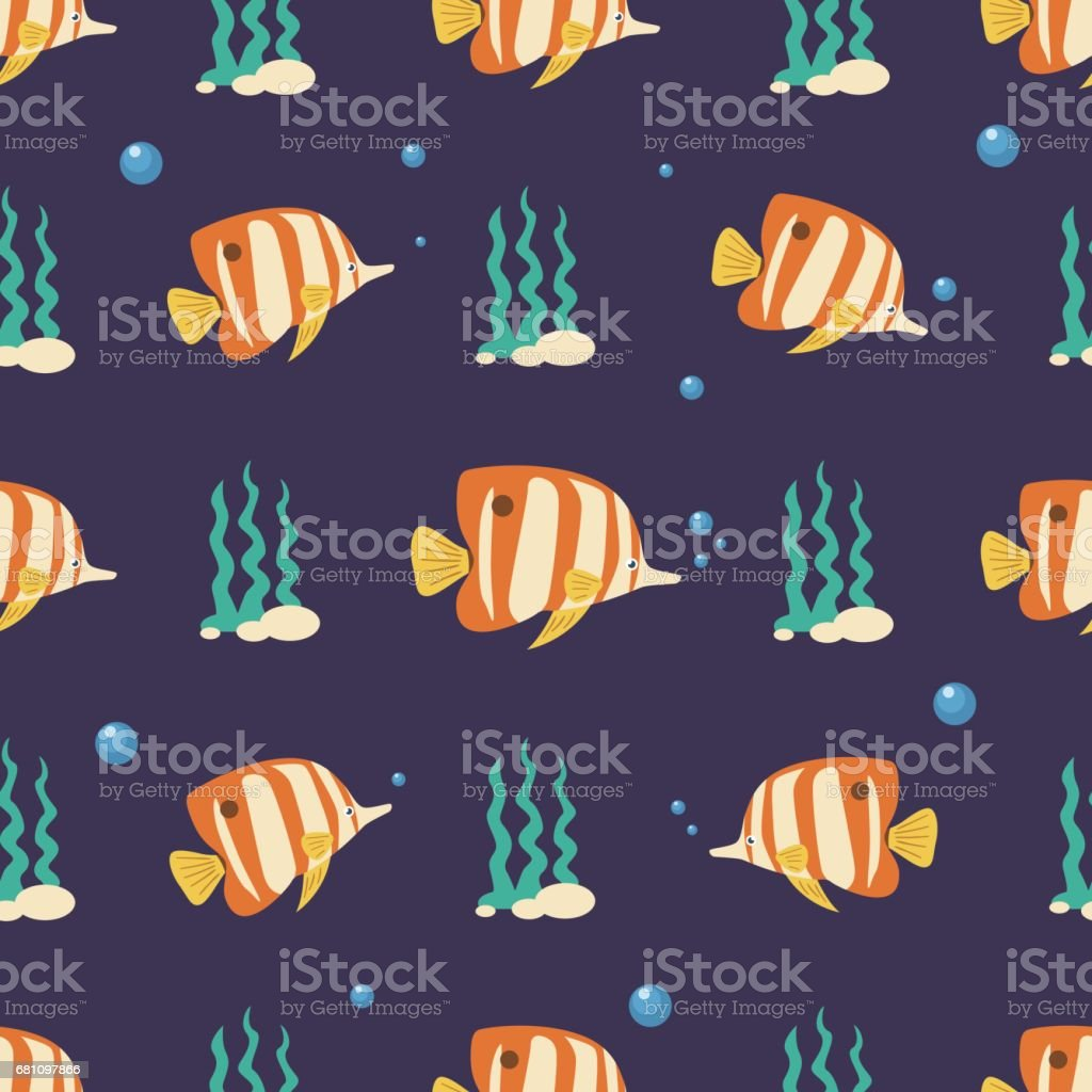 Copperband Butterflyfish Seamless Pattern royalty-free copperband butterflyfish seamless pattern stock vector art & more images of animal