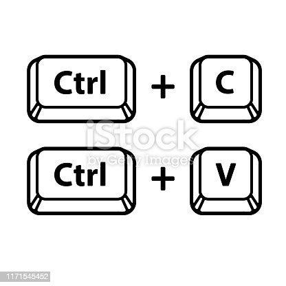 Ctrl C, Ctrl V keyboard buttons, copy and paste key shortcut. Black and white computer icons, vector illustration.