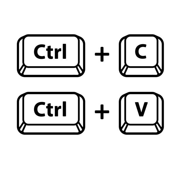 Copy and paste key shortcuts Ctrl C, Ctrl V keyboard buttons, copy and paste key shortcut. Black and white computer icons, vector illustration. computer keyboard stock illustrations