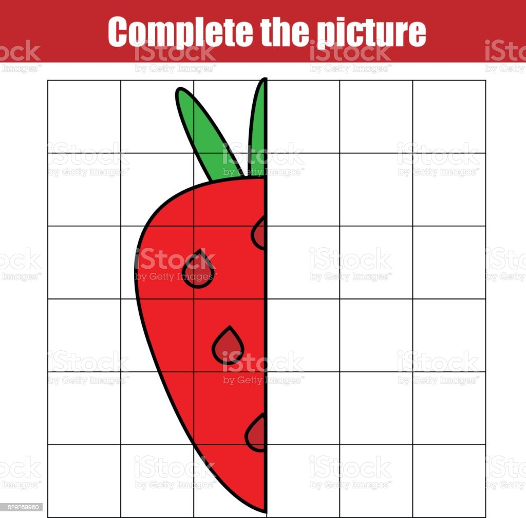 Copy By Grid Complete The Picture Children Educational Game Coloring ...