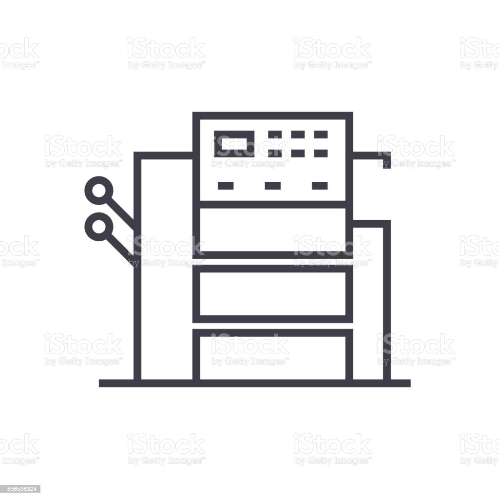 copy machine vector line icon, sign, illustration on background, editable strokes