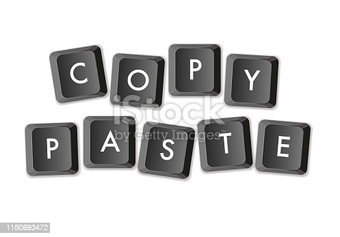 Horizontal Vector Illustration with Computer Keys Keyboard with lettering composing Copy/Paste Concept