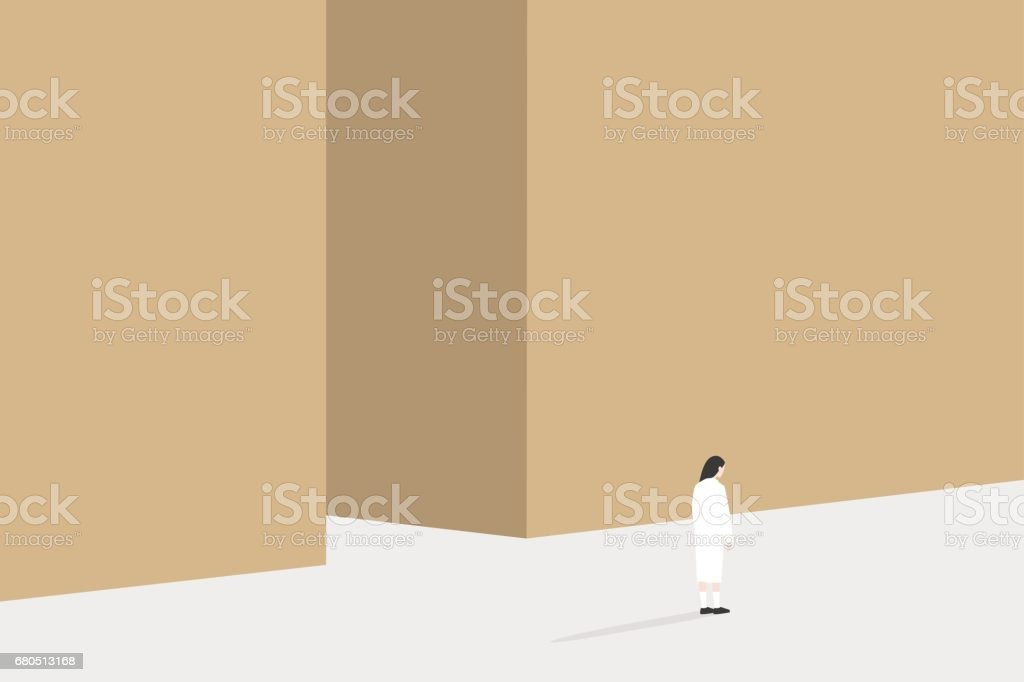 Copy space conceptual illustration. Back view of young woman standing beside the high wall / editable vector illustration, clip art vector art illustration