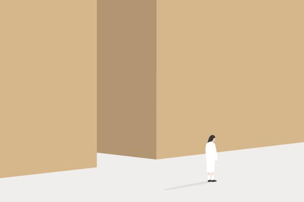 stockillustraties, clipart, cartoons en iconen met ruimte conceptuele afbeelding kopiëren. achteraanzicht van jonge vrouw staande naast de hoge muur / bewerkbare vector illustratie, illustraties - solitair