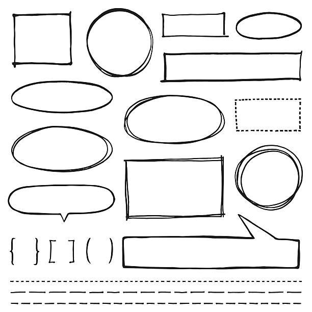 stockillustraties, clipart, cartoons en iconen met copy space design element set - potloodtekening