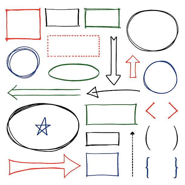 ilustraciones, imágenes clip art, dibujos animados e iconos de stock de conjunto de elementos de diseño de espacio de copia - marcos de garabatos y dibujados a mano