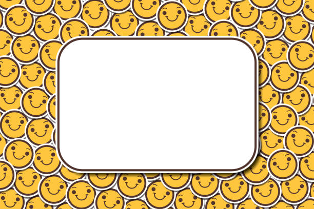 Copy Space Happy Cheerful Smiling Face Banner Emoji Emoticon Background vector art illustration