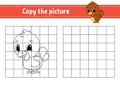 Copy the picture. Coloring book pages for kids. Education developing worksheet. Game for children. Handwriting practice. Funny character. Cute cartoon vector illustration.