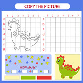 Copy the picture Dinosaur using grid lines. Coloring with drawing lesson. Children funny education riddle entertainment and amusement. Kid drawing art game. Vector illustration.