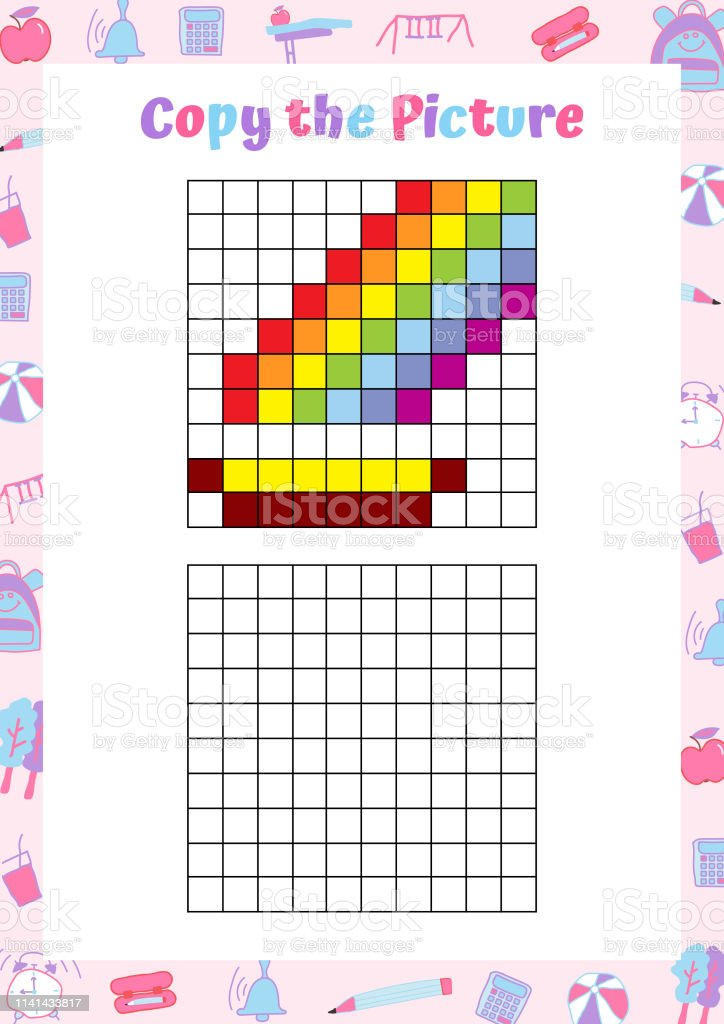 Copy the picture. Drawing activity for kids. Educational game for...