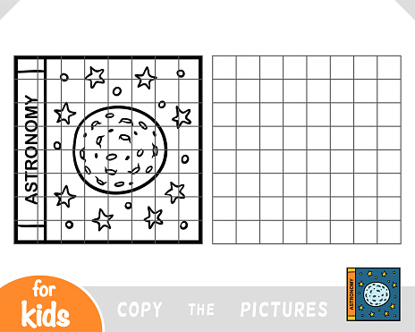 Copy the picture, education game for kids, Astronomy book cover