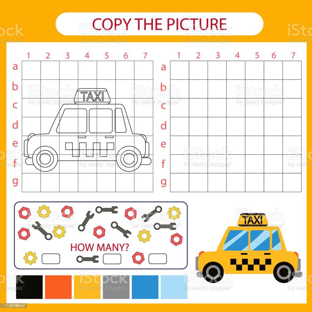 Copier La Photo De Voiture De Taxi À Laide De Lignes De La Grille Coloriage  Avec Dessiné La Voiture De Dessin Animé Animation Pour Enfants Éducation ...