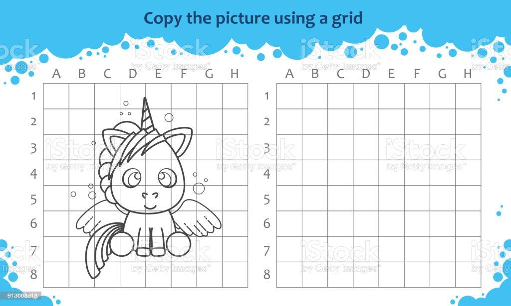 Ilustración de Copiar La Imagen Utilizando Una Cuadrícula Juego ...