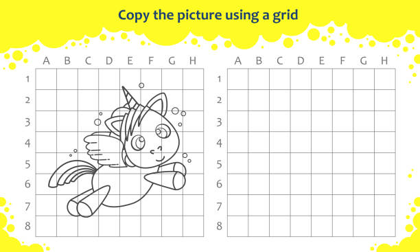 copy the picture using a grid. educational game for children. how to draw flying cute cartoon unicorn - unicorn line drawings stock illustrations, clip art, cartoons, & icons