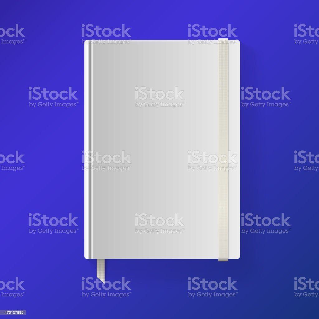 Copybook with elastic band and bookmark. royalty-free stock vector art