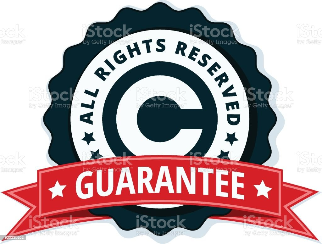 Copyright All Rights Reserved Guarantee Illustration Stock Vector