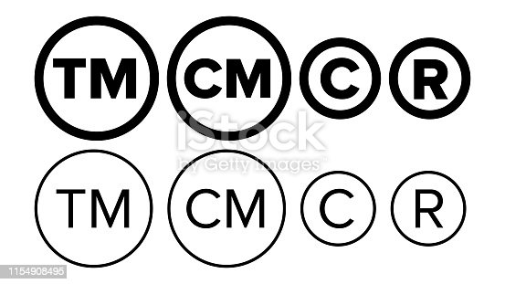Copyright And Registered Trademark Icon Set Vector. Collection Of Template Symbol Smartmark And Trademark Right And License. Intellectual Property Sign Protection Flat Design Illustration