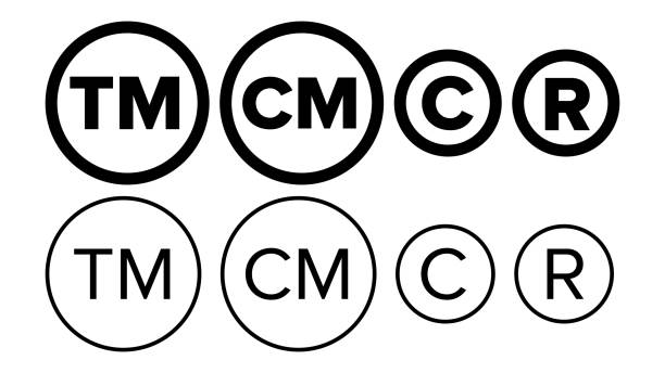 Copyright And Registered Trademark Icon Set Vector Copyright And Registered Trademark Icon Set Vector. Collection Of Template Symbol Smartmark And Trademark Right And License. Intellectual Property Sign Protection Flat Design Illustration tandvård stock illustrations