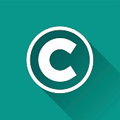 copyright flat design icon