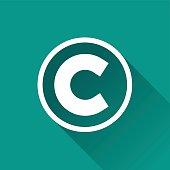 copyright flat design icon