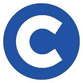 copyright icon on white background