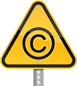 Copyright pictogram warning triangle yellow road sign white background