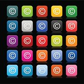 Copyright sign rounded square icon web button black background