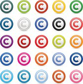 Copyright sign web icon circle satin button