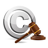 copyright symbol and gavel illustration design over a white background
