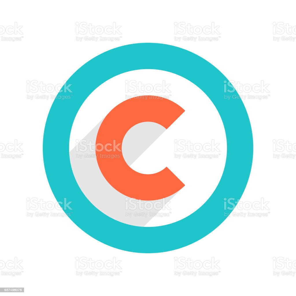 Copyright symbol or copyright sign in flat style vector art illustration