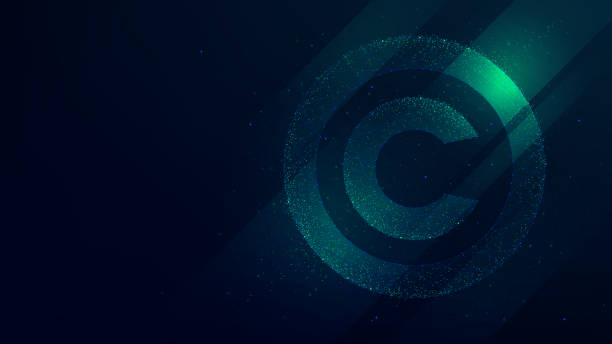 Copyright symbol, protection of intellectual property, future technology illustration Copyright symbol, protection of intellectual property, future technology illustration intellectual property stock illustrations