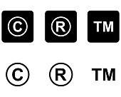 Copyright trademark icons set