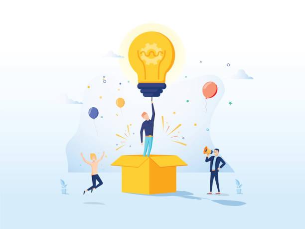 kopierer creative idea landing page. business creativity concept für website oder webseite. blog advertisen cartoon - computergrundlagen stock-grafiken, -clipart, -cartoons und -symbole