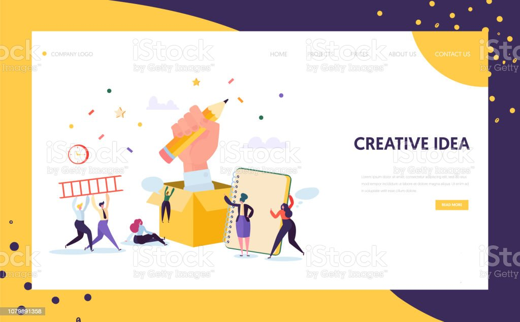 Copywriter Creative Pencil Idea Landing Page Business Creativity Concept For Website Or Web