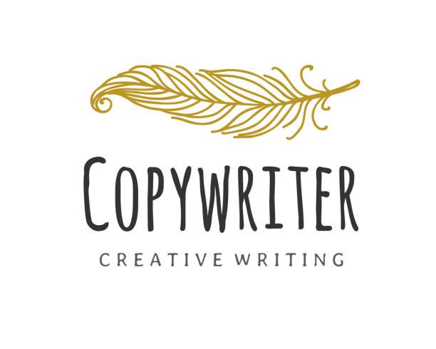 stockillustraties, clipart, cartoons en iconen met copywriter vector logo. schrijver quill logo - stekels