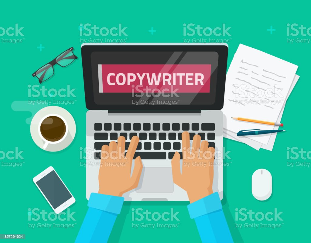 Copywriter working on laptop writing article vector illustration, flat carton workplace table and computer, person, copywriting text on screen, idea of bog author working, freelancer journalist place vector art illustration