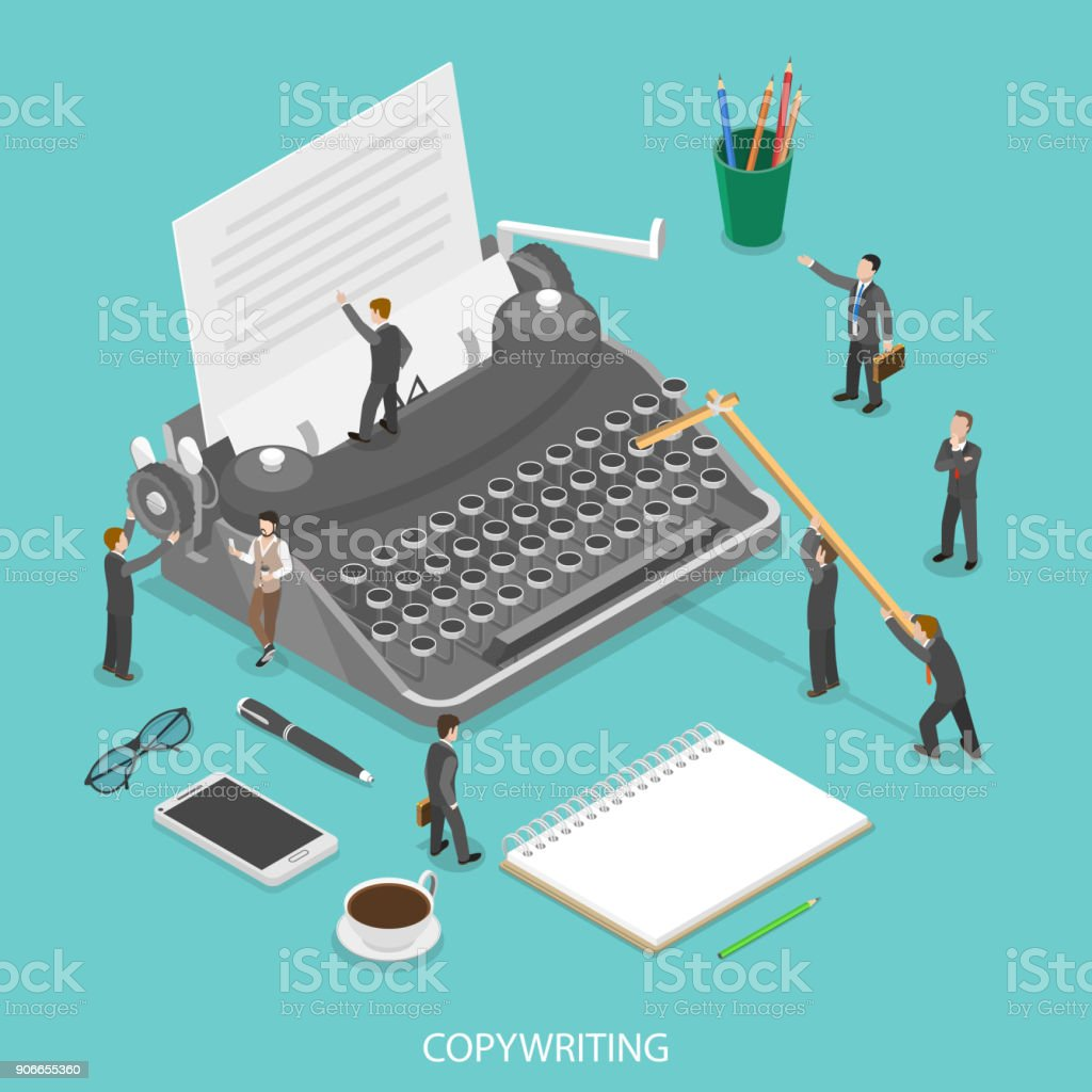 Copywriting flat isometric vector concept. People are trying to create some text on the paper sheet using a typewriter. vector art illustration