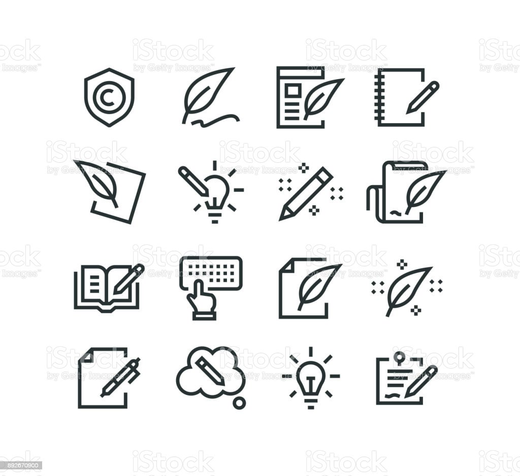Copywriting Icons vector art illustration