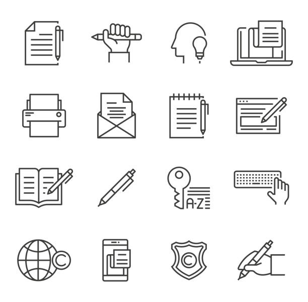 Copywriting Icons Copywriting Icons writing activity stock illustrations