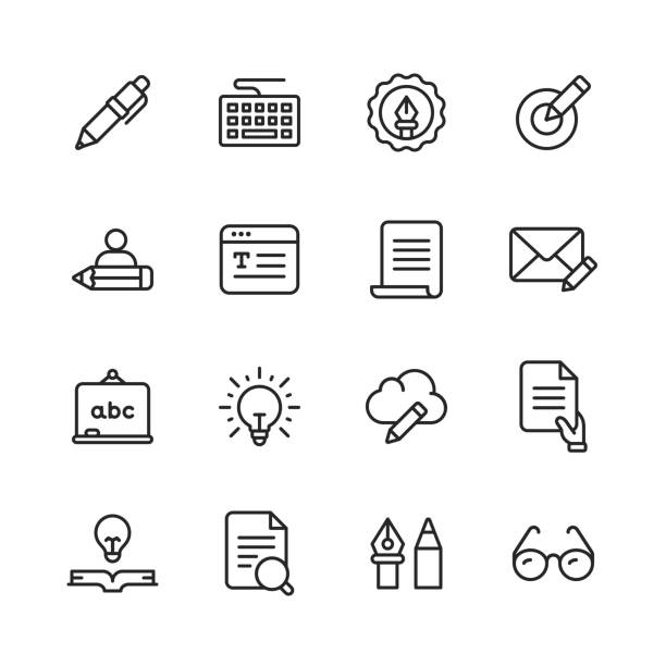Copywriting Line Icons. Editable Stroke. Pixel Perfect. For Mobile and Web. Contains such icons as Pencil, Newspaper, Magazine, Pen, Writing, Reading, Brainstorming, Creativity, Typewriter, Marketing, Book, Notebook, Quote, Keyboard, Idea, Typography. 16 Copywriting Outline Icons. copywriter stock illustrations